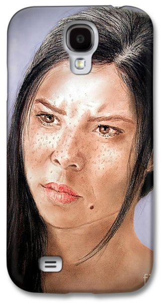Beauty Mark Mixed Media Galaxy S4 Cases - Actress and Beauty Jeananne Version II Galaxy S4 Case by Jim Fitzpatrick