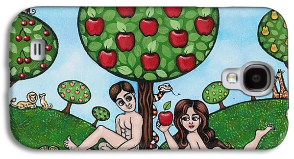 Fruit Tree Art Galaxy S4 Cases - Adam and Eve The Naked Truth Galaxy S4 Case by Victoria De Almeida