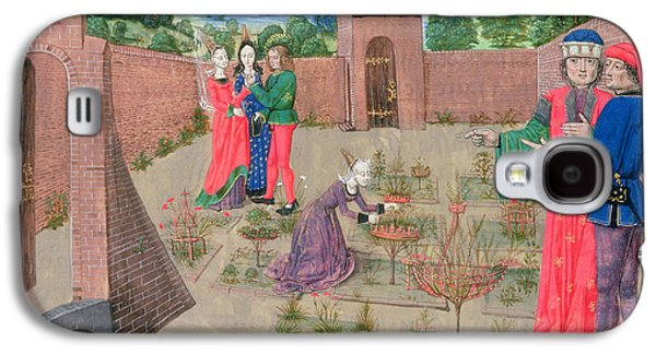 Manuscript Galaxy S4 Cases - Add 19720 Fol.214 Walled Garden With A Woman Gardening And Others Gossiping, From Livre Des Galaxy S4 Case by French School