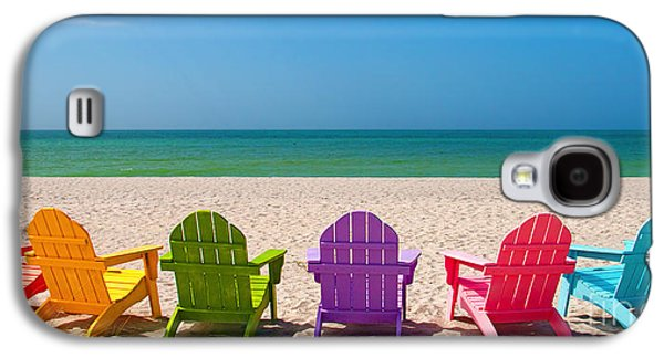 Seaside Galaxy S4 Cases - Adirondack Beach Chairs for a Summer Vacation in the Shell Sand  Galaxy S4 Case by ELITE IMAGE photography By Chad McDermott