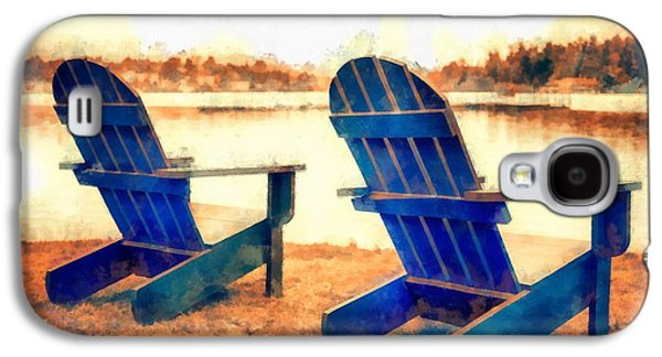 Studio Photographs Galaxy S4 Cases - Adirondack Chairs by the Lake Galaxy S4 Case by Edward Fielding