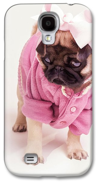 Puppy Digital Art Galaxy S4 Cases - Adorable Pug Puppy in Pink Bow and Sweater Galaxy S4 Case by Edward Fielding