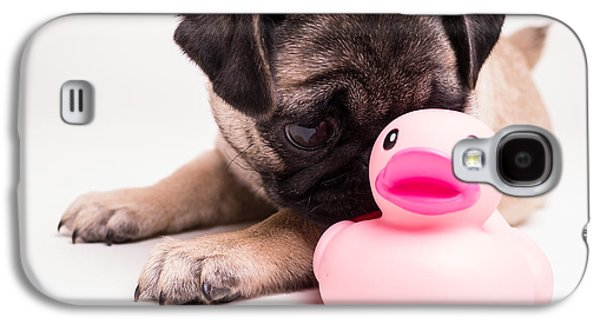 Puppies Galaxy S4 Cases - Adorable Pug Puppy with pink rubber ducky Galaxy S4 Case by Edward Fielding