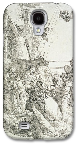 Religious Drawings Galaxy S4 Cases - Adoration of the Magi Galaxy S4 Case by Giovanni Battista Tiepolo