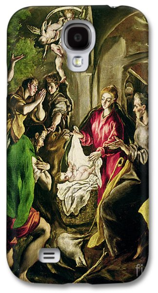 Manger Galaxy S4 Cases - Adoration of the Shepherds Galaxy S4 Case by El Greco Domenico Theotocopuli