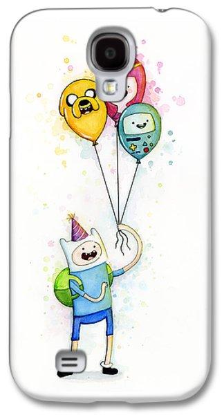 Adventure Time Finn With Birthday Balloons Jake Princess Bubblegum Bmo Galaxy S4 Case by Olga Shvartsur