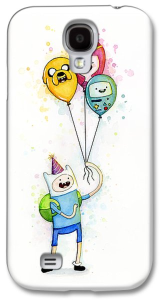 Balloons Galaxy S4 Cases - Adventure Time Finn with Birthday Balloons Jake Princess Bubblegum BMO Galaxy S4 Case by Olga Shvartsur