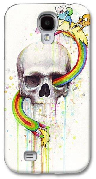 Fan Paintings Galaxy S4 Cases - Adventure Time Skull Jake Finn Lady Rainicorn Watercolor Galaxy S4 Case by Olga Shvartsur