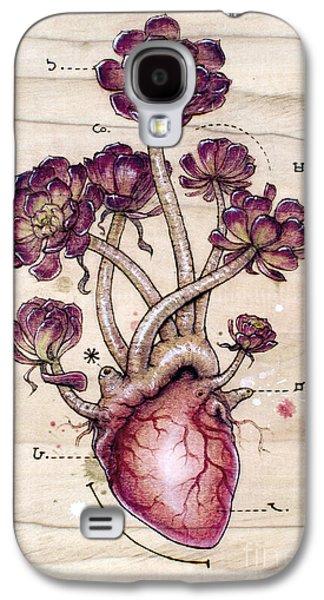 Biology Pyrography Galaxy S4 Cases - Aeonium Heart Galaxy S4 Case by Fay Helfer