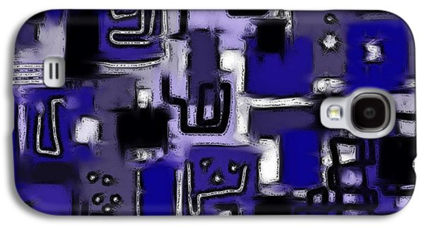 Abstract Digital Art Galaxy S4 Cases - Aerial Neighbourhood Abstract in Blue Galaxy S4 Case by Barbara St Jean