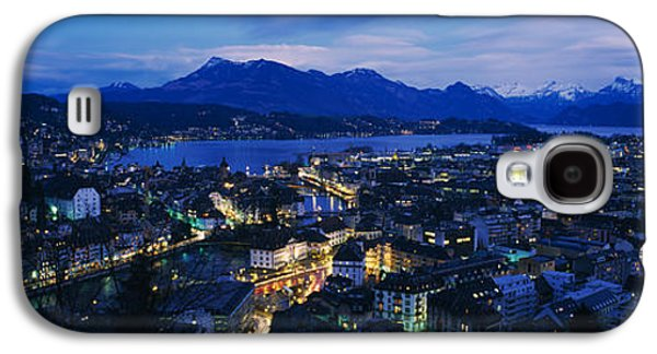 Lucerne Galaxy S4 Cases - Aerial View Of A City At Dusk, Lucerne Galaxy S4 Case by Panoramic Images