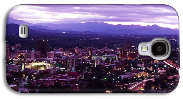 Asheville Galaxy S4 Cases - Aerial View Of A City Lit Up At Dusk Galaxy S4 Case by Panoramic Images