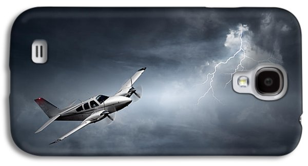 Lightning Digital Art Galaxy S4 Cases - Aeroplane in thunderstorm Galaxy S4 Case by Johan Swanepoel