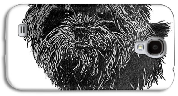 Dogs Jewelry Galaxy S4 Cases - Affenpinscher Head Study Galaxy S4 Case by Virginia Cleary