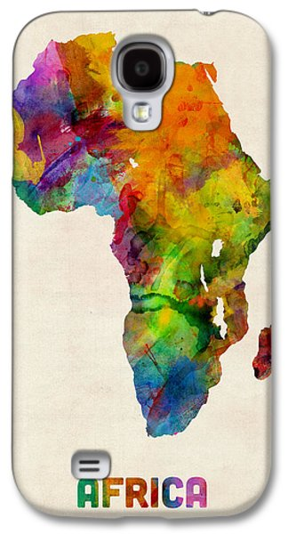 Map Galaxy S4 Cases - Africa Watercolor Map Galaxy S4 Case by Michael Tompsett