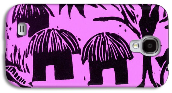 Lino Reliefs Galaxy S4 Cases - African Huts Pink Galaxy S4 Case by Caroline Street