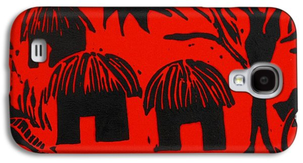Lino Reliefs Galaxy S4 Cases - African Huts Red Galaxy S4 Case by Caroline Street
