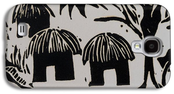 Lino Galaxy S4 Cases - African Huts White Galaxy S4 Case by Caroline Street