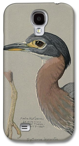 1874 Galaxy S4 Cases - African Night Heron  Galaxy S4 Case by Louis Agassiz Fuertes