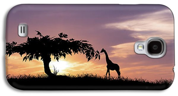 Giraffe Digital Galaxy S4 Cases - African Sunset Galaxy S4 Case by Aged Pixel