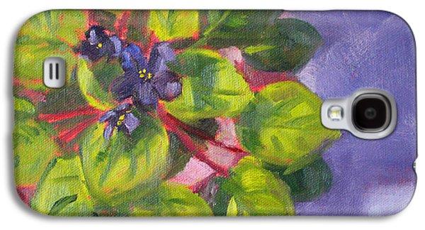 """indoor"" Still Life Paintings Galaxy S4 Cases - African Violet Still Life Oil Painting Galaxy S4 Case by Nancy Merkle"
