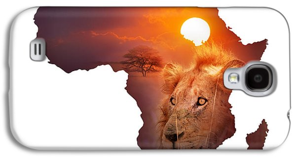 Cut Outs Galaxy S4 Cases - African Wildlife Map Galaxy S4 Case by Johan Swanepoel