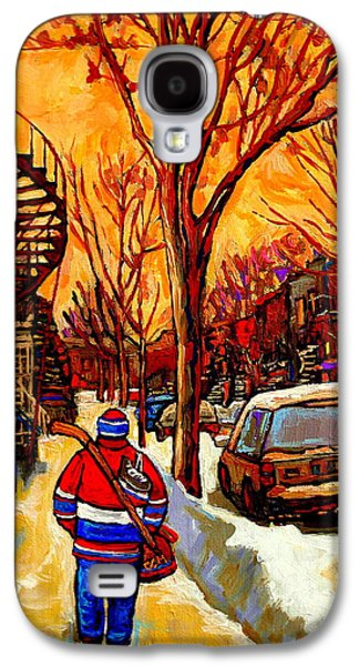 Montreal Streets Paintings Galaxy S4 Cases - After The Hockey Game A Winter Walk At Sundown Montreal City Scene Painting  By Carole Spandau Galaxy S4 Case by Carole Spandau