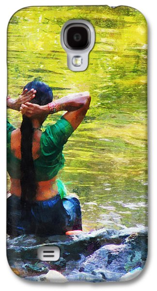 Best Sellers Photographs Galaxy S4 Cases - After the River Bathing. Indian Woman. Impressionism Galaxy S4 Case by Jenny Rainbow