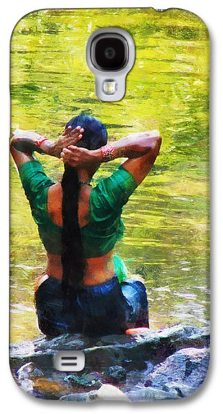 Hair-washing Galaxy S4 Cases - After the River Bathing. Indian Woman. Impressionism Galaxy S4 Case by Jenny Rainbow