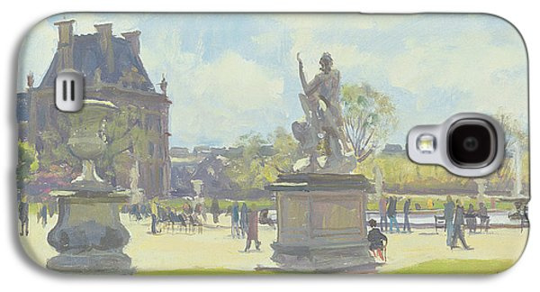 Garden Scene Galaxy S4 Cases - Afternoon In The Tuileries, Paris Oil On Canvas Galaxy S4 Case by Julian Barrow