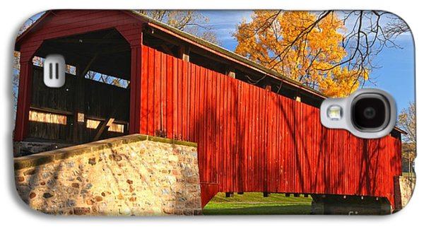 Conestoga Galaxy S4 Cases - Afternoon Light At The Poole Forge Covered Bridge Galaxy S4 Case by Adam Jewell