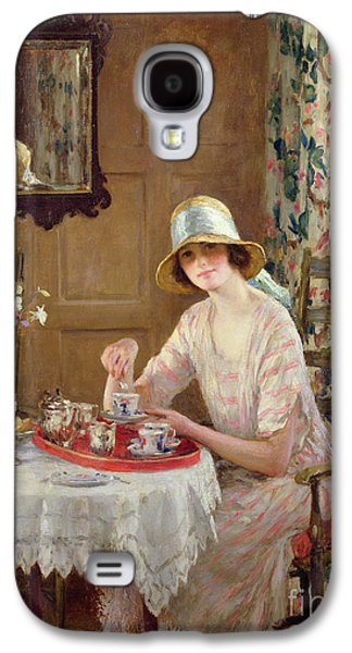 Coffee Drinking Galaxy S4 Cases - Afternoon Tea Galaxy S4 Case by William Henry Margetson