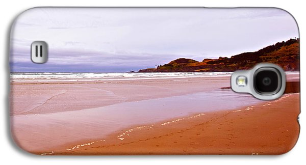 Agate Beach Galaxy S4 Cases - Agate Beach Oregon with Yaquina Head Lighthouse Galaxy S4 Case by Artist and Photographer Laura Wrede