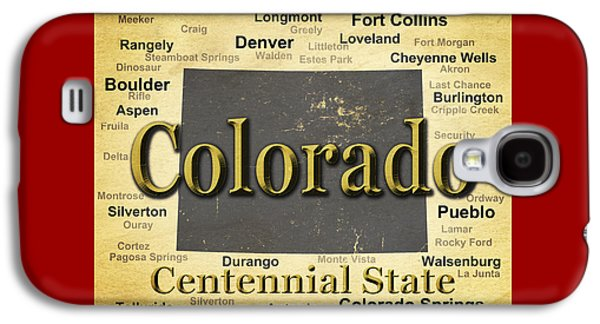 Fort Collins Galaxy S4 Cases - Aged Colorado State Pride Map Silhouette  Galaxy S4 Case by Keith Webber Jr