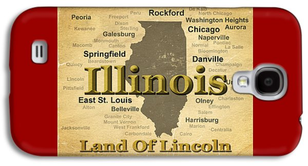 Normal Galaxy S4 Cases - Aged Illinois State Pride Map Silhouette  Galaxy S4 Case by Keith Webber Jr