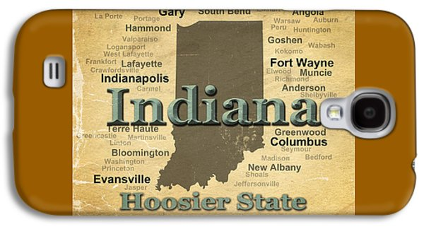 Evansville Galaxy S4 Cases - Aged Indiana State Pride Map Silhouette  Galaxy S4 Case by Keith Webber Jr