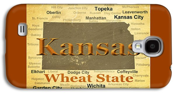 Manhatten Galaxy S4 Cases - Aged Kansas State Pride Map Silhouette  Galaxy S4 Case by Keith Webber Jr