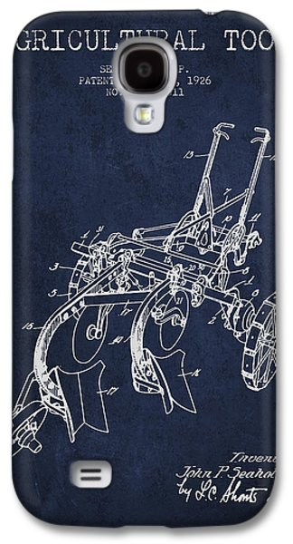 Plow Galaxy S4 Cases - Agricultural Tool patent from 1926 - Navy Blue Galaxy S4 Case by Aged Pixel