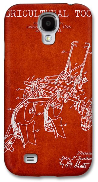 Plow Galaxy S4 Cases - Agricultural Tool patent from 1926 - Red Galaxy S4 Case by Aged Pixel