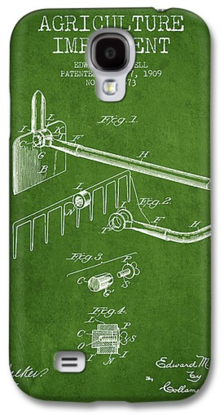 Plow Galaxy S4 Cases - Agriculture Implement patent from 1909 - Green Galaxy S4 Case by Aged Pixel