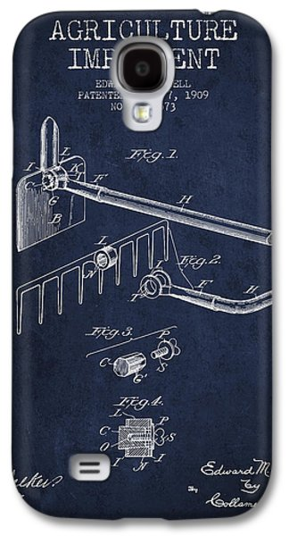 Plow Galaxy S4 Cases - Agriculture Implement patent from 1909 - Navy Blue Galaxy S4 Case by Aged Pixel