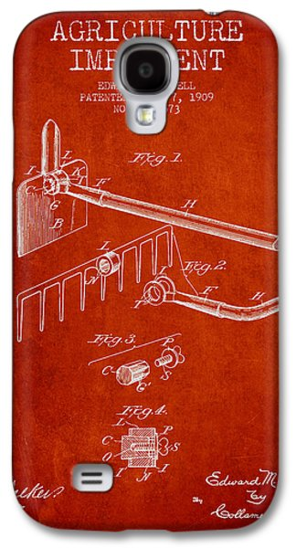 Plow Galaxy S4 Cases - Agriculture Implement patent from 1909 - Red Galaxy S4 Case by Aged Pixel