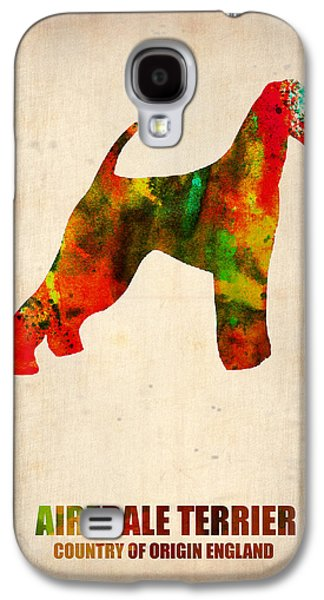 Puppies Galaxy S4 Cases - Airedale Terrier Poster Galaxy S4 Case by Naxart Studio