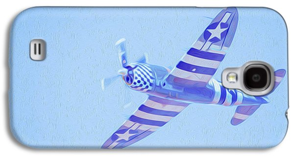 Jet Star Paintings Galaxy S4 Cases - Airplane in blue sky Galaxy S4 Case by Lanjee Chee