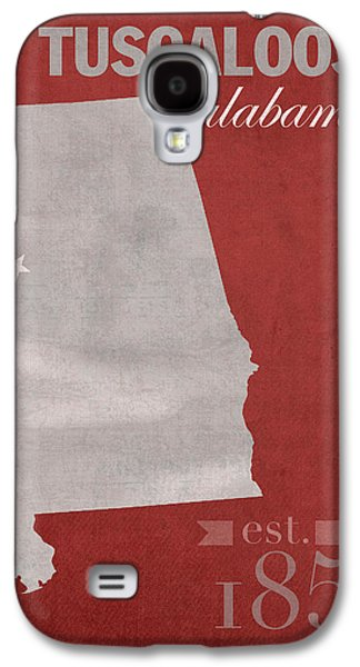 Alabama Galaxy S4 Cases - Alabama Crimson Tide Tuscaloosa College Town State Map Poster Series No 008 Galaxy S4 Case by Design Turnpike