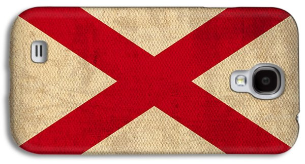 Crimson Tide Galaxy S4 Cases - Alabama State Flag Art on Worn Canvas Galaxy S4 Case by Design Turnpike