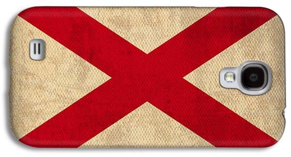 Alabama Galaxy S4 Cases - Alabama State Flag Art on Worn Canvas Galaxy S4 Case by Design Turnpike