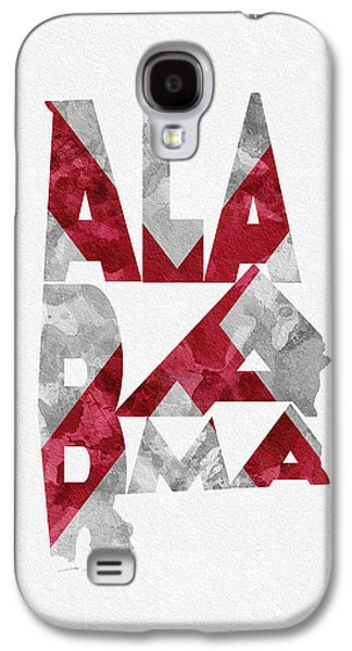 Alabama Galaxy S4 Cases - Alabama Typographic Map Flag Galaxy S4 Case by Ayse Deniz