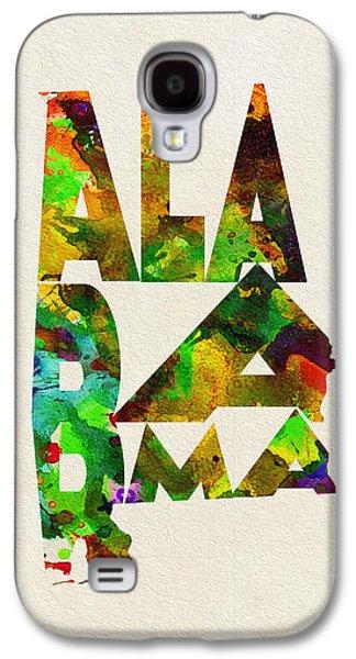 Alabama Galaxy S4 Cases - Alabama Typographic Watercolor Map Galaxy S4 Case by Ayse Deniz