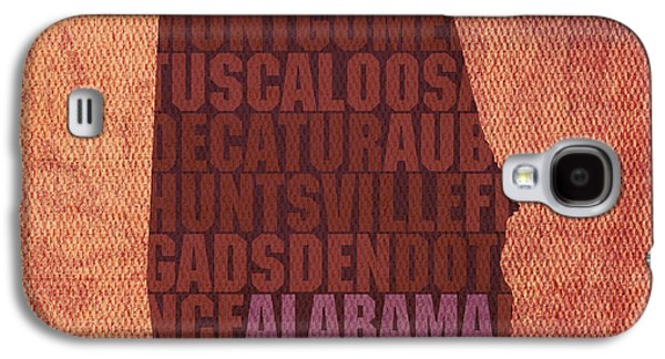 Alabama Galaxy S4 Cases - Alabama Word Art State Map on Canvas Galaxy S4 Case by Design Turnpike